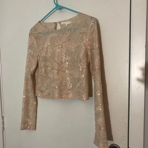 Champagne Sequin Long Sleeve Crop top